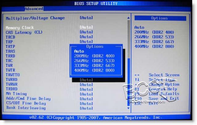 BIOS Advanced Memory