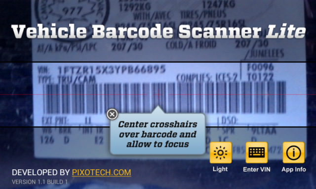 Android App Pick - Vehicle Barcode Scanner Lite