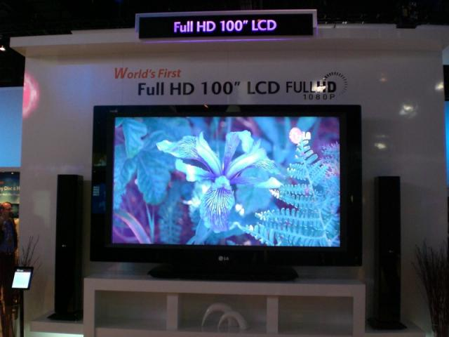 """LG - Worlds First 100"""" Plasma Display.  (It's actually just two 50"""" displays put together.  When the picture i"""