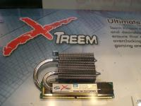 Team RAM - Xtreme Series with thermalright heat pipe cooler.  These modules run at 1200 Mhz stock with timings 5-5-5-15 at 2.35