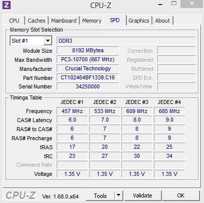 CPU-Z 1333MHz SPD