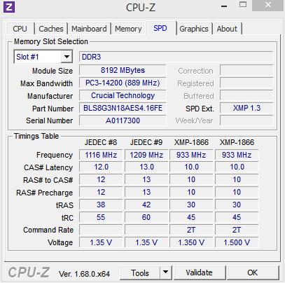CPU-Z SPD 1866MHz
